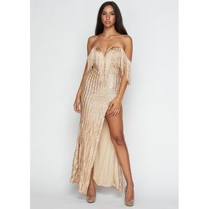 Dresses & Skirts - Off shoulder fringe slit maxi dress